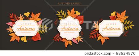 Autumn foliage label design 68624970