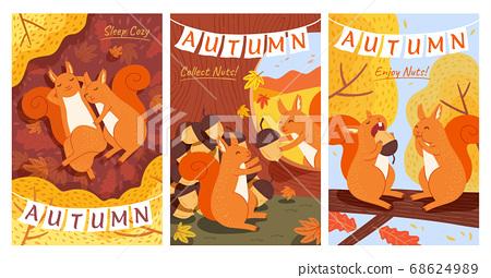 Autumn forest illustration set 68624989