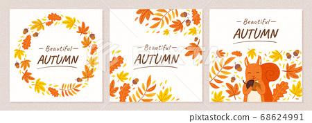 Autumn square banner set 68624991