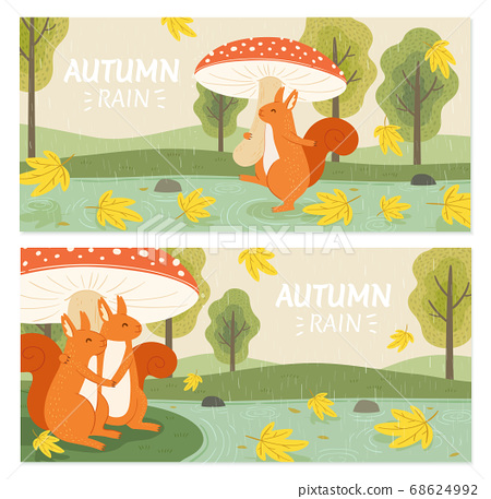 Rainy autumn forest banner set 68624992