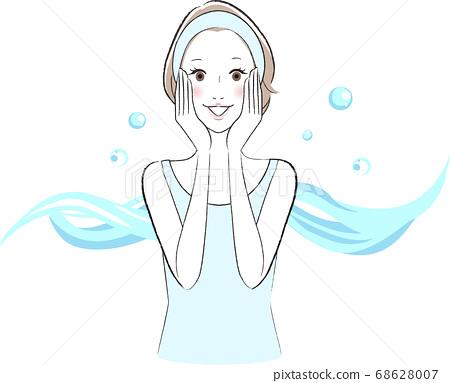 由於護膚效果而對保濕肌膚感到滿意的女人 68628007