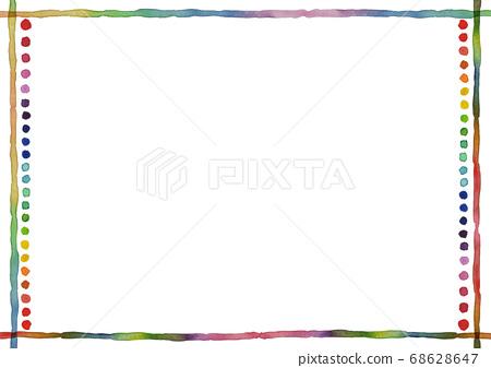 무지개 색으로 희미 라인과 도트 프레임 68628647