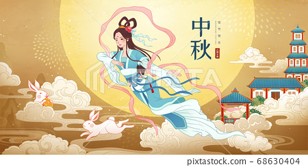 Mid Autumn Chang e flying upon sky 68630404