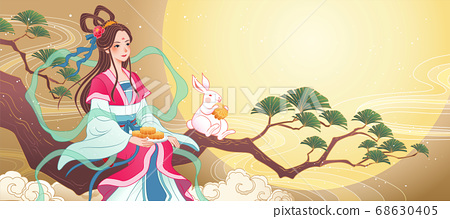 Mid Autumn Chang e sits on a branch 68630405