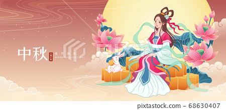 Mid Autumn Chang e sits on mooncake 68630407