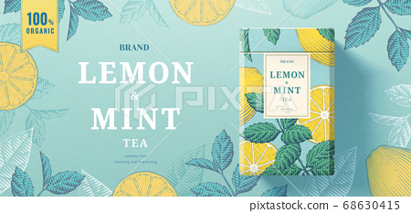 Lemon mint tea paper can packaging 68630415