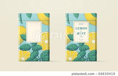 Engraving style lemon tea packaging 68630419