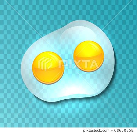Illustration of a transparent fried eggs. Omelette. Vector element  68630559