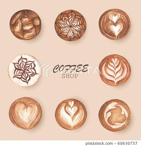 Top view of hot coffee cappuccino latte art foam.  68630737