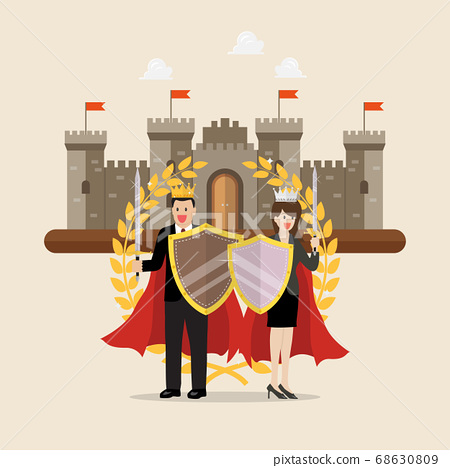 Man and woman holding shield sword with golden 68630809
