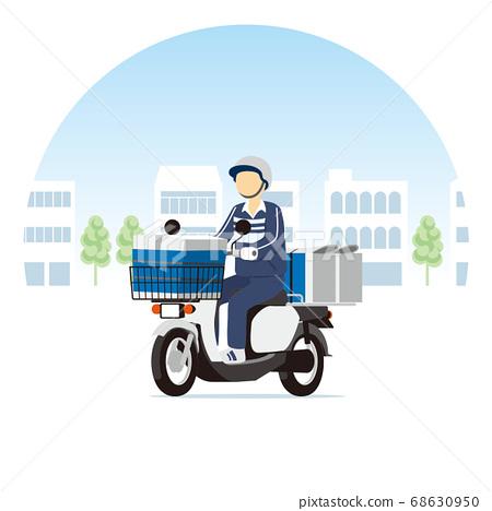 거리를 달리는 신문 배달 자전거, 오토바이, 스쿠터 68630950