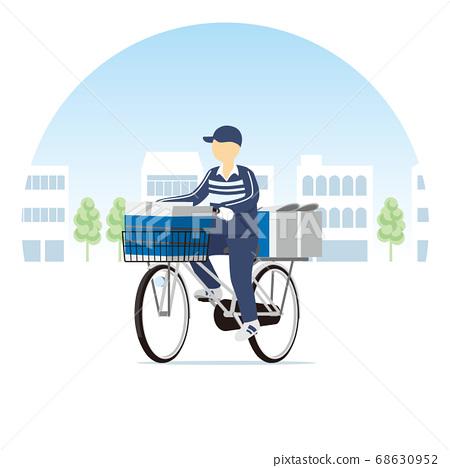거리를 달리는 신문 배달 자전거 68630952