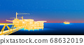 Oil derrick in sea for industrial design. 68632019