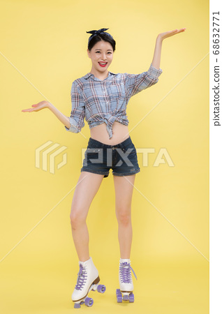 Life style concept, happy shopping time. Young asian woman with shopping bags and cart. 460 68632771