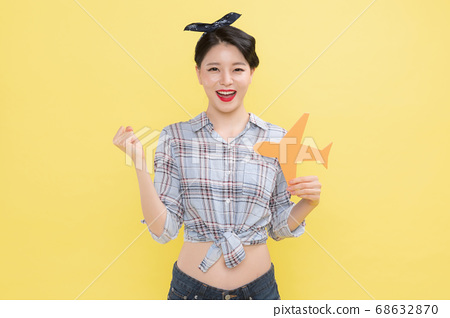 Life style concept, happy shopping time. Young asian woman with shopping bags and cart. 151 68632870