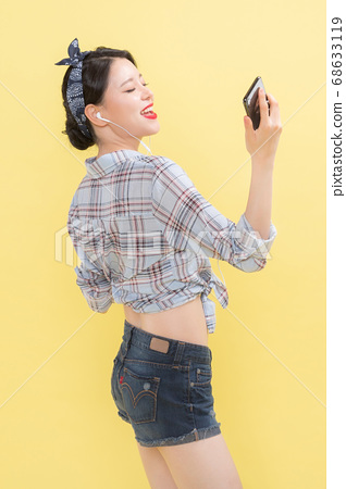 Life style concept, happy shopping time. Young asian woman with shopping bags and cart. 326 68633119