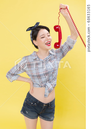Life style concept, happy shopping time. Young asian woman with shopping bags and cart. 132 68633165