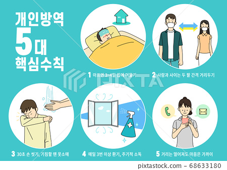 Social distancing concept, people to protect from COVID-19 illustration 004 68633180