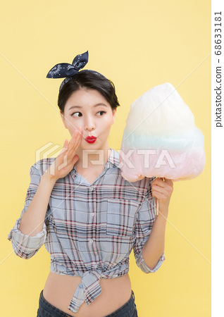 Life style concept, happy shopping time. Young asian woman with shopping bags and cart. 276 68633181