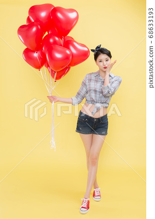 Life style concept, happy shopping time. Young asian woman with shopping bags and cart. 353 68633193