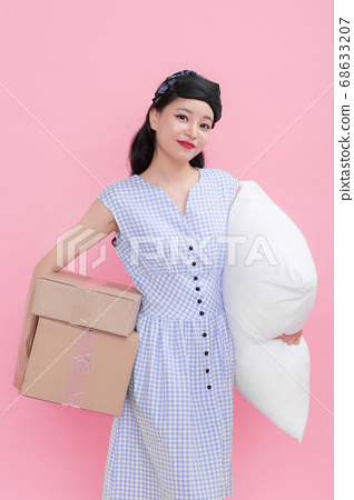 Life style concept, happy shopping time. Young asian woman with shopping bags and cart. 272 68633207