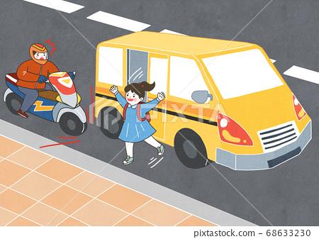 Children safety concept, Crossing road traffic education illustration 011 68633230