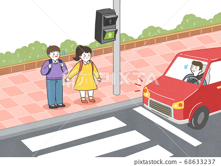 Children safety concept, Crossing road traffic education illustration 001 68633237