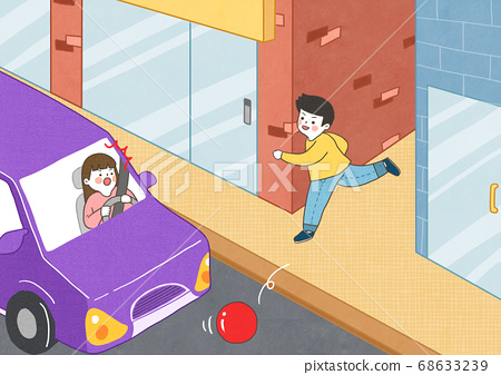Children safety concept, Crossing road traffic education illustration 009 68633239