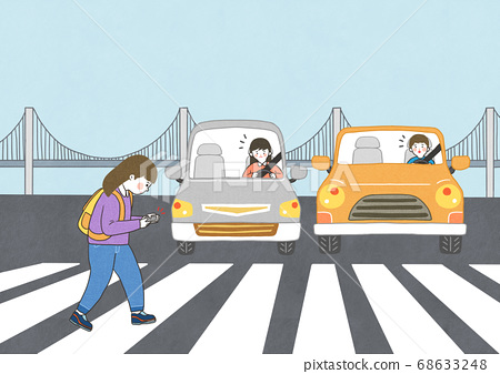 Children safety concept, Crossing road traffic education illustration 005 68633248