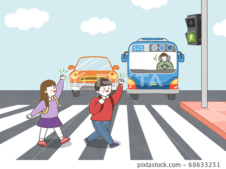 Children safety concept, Crossing road traffic education illustration 003 68633251