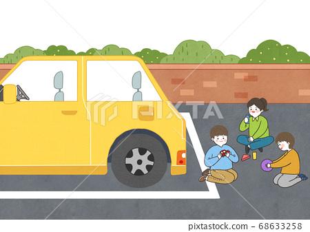 Children safety concept, Crossing road traffic education illustration 004 68633258