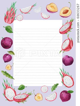 Healthy food and fruits frame background illustration 009 68633267