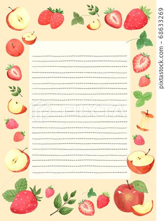 Healthy food and fruits frame background illustration 001 68633269