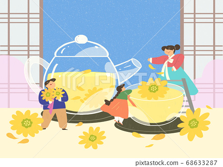 Korea traditional play in flat design illustration 006 68633287