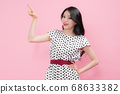 Life style concept, happy shopping time. Young asian woman with shopping bags and cart. 107 68633382