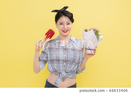Life style concept, happy shopping time. Young asian woman with shopping bags and cart. 133 68633406