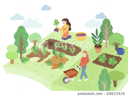Ecology and biology concept, Green city Eco life illustration 002 68633426