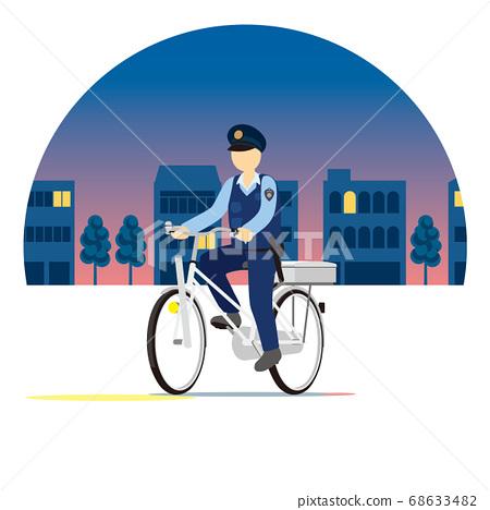 巡邏,騎自行車在城市跑步的警察 68633482