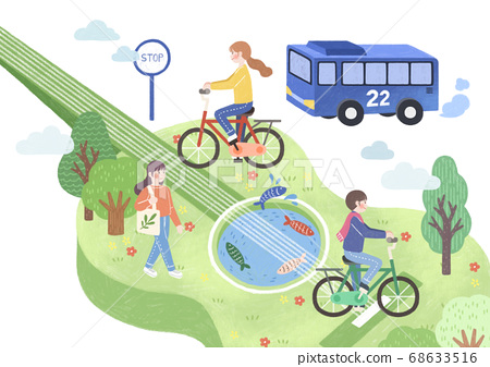 Ecology and biology concept, Green city Eco life illustration 009 68633516