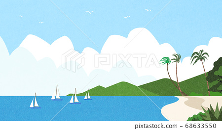 Beautiful summer landscape illustration 010 68633550