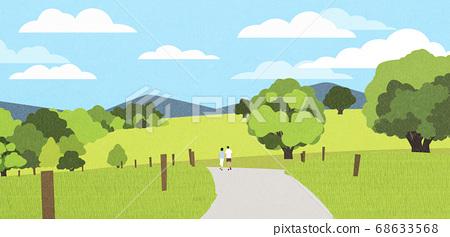 Beautiful summer landscape illustration 001 68633568