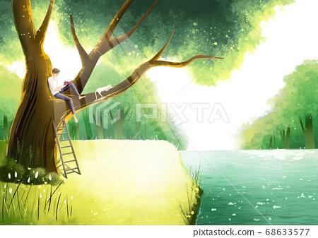 Summer fantasy forest landscape illustration 005 68633577