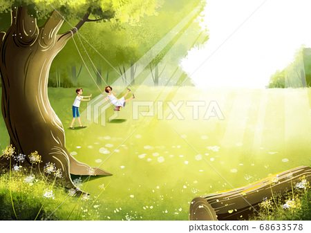 Summer fantasy forest landscape illustration 003 68633578