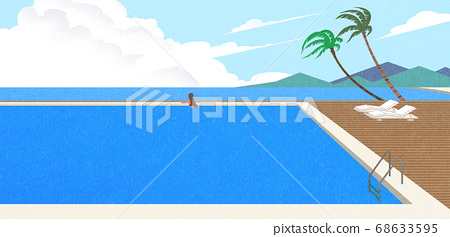 Beautiful summer landscape illustration 005 68633595