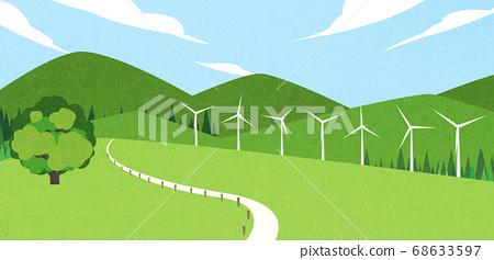 Beautiful summer landscape illustration 006 68633597