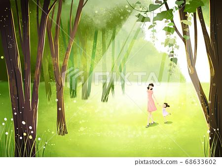 Summer fantasy forest landscape illustration 010 68633602