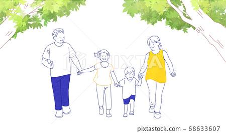 Happy and loving family hand drawn illustration 010 68633607