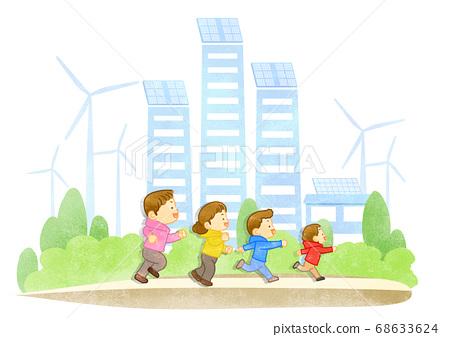 Green eco energy concept. Green earth illustration 015 68633624