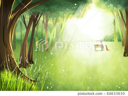 Summer fantasy forest landscape illustration 009 68633630
