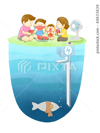 Green eco energy concept. Green earth illustration 008 68633639